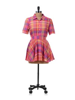 Magenta Check Tunic Shirt - NUN