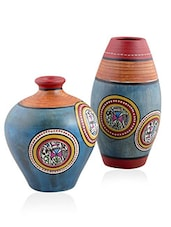 VarEesha Blue Terracotta Hand Crafted Pots Set Of Two - By