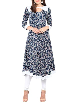 multi colored rayon printed a-line kurta