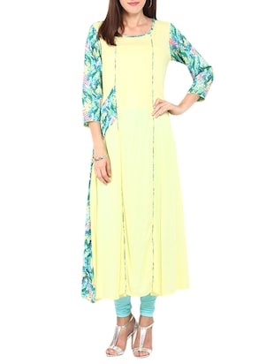 yellow rayon floral printed long kurta