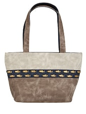 Off-White And Brown Leather Shoulder Bag - By