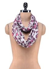Grey Cotton Polyester Printed Scarf - By