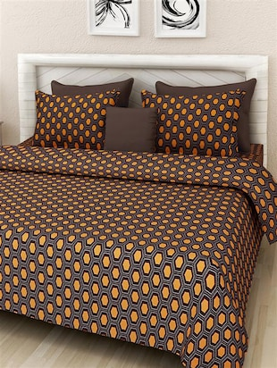 Maroon Cotton Printed Double Bedcover Set -  online shopping for bed covers