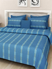 Blue Cotton Printed Double Bedcover Set -  online shopping for bed covers