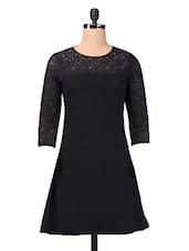 Black Plain Trimmed Laced Georgette Dress - By
