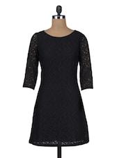 Black Plain Trimmed Laced Cotton Dress - By