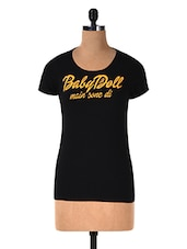 Black Printed Cotton Knit T-shirt - By