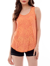 orange printed tank top -  online shopping for Tops