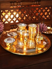 Ojas Gold & Silver Plated Stainless Steel Pooja Set - By
