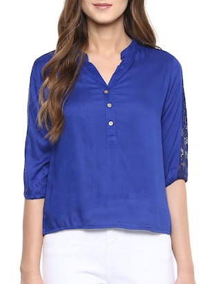 blue rayon straight top