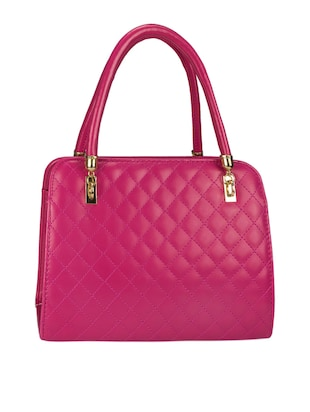 Quilted pink leatherette handbag