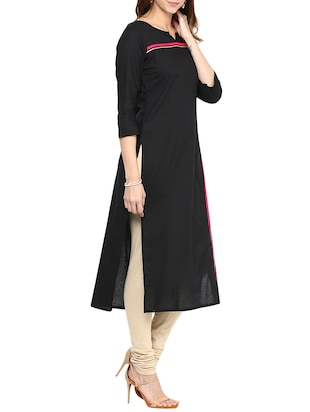 black cotton long kurta - 12184780 - Standard Image - 2