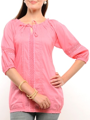 pink cotton regular top