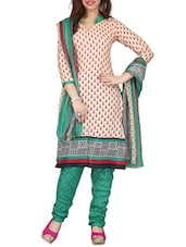 Beige Printed  Cotton Printed Unstitched Suit Piece - By