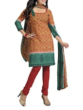 Beige Printed  And Maroon Cotton Unstitched Suit Piece - By
