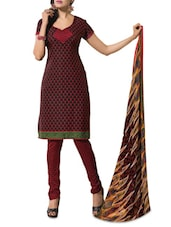 Black Printed  And Maroon Crepe Unstitched Suit Piece - By