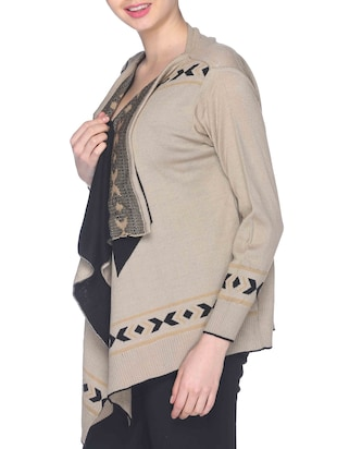 brown woven waterfall shrug - 12192462 - Standard Image - 2