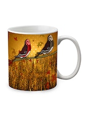 Brown Ceramic Bird Mug - By