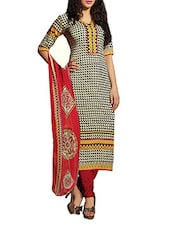 White And Black Printed Unstitched Suit Set - By
