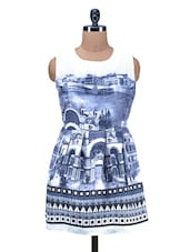Blue And White Printed Poly Cotton Dress - By