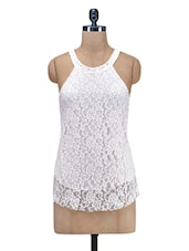 Off White Lace Top With Cutout Back - By