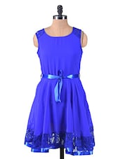 Solid Blue Polygeorgette Dress With Lace Trim - By