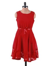 Solid Red Polygeorgette Dress With Lace Trim - By