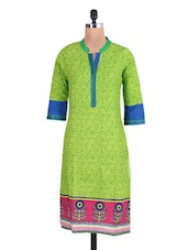 Light Green Cotton Embroidered Kurta - By