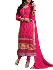 Pink Embroidered Georgette Suit Set - By - 1220989
