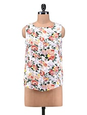 Multicolored Floral Printed Sleeveless Polyester Top - By