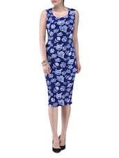 Blue Knitted Polyester Rose Party Wear Dress - By