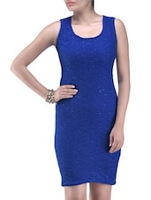 Blue Poly Viscose Net Sequined Party Wear Dress - By