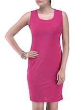 Pink Net Solid Party Wear Dress - By