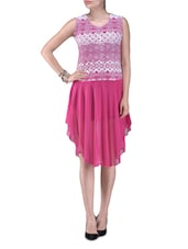Pink Printed Polyester Party Wear Dress - By