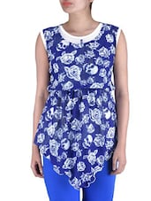 Blue Knitted Polyester Short Party Wear Dress - By