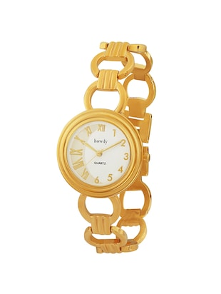 howdy Analog White Dial Gold Platted Chian Watch- for - Women's & Girl's ss376