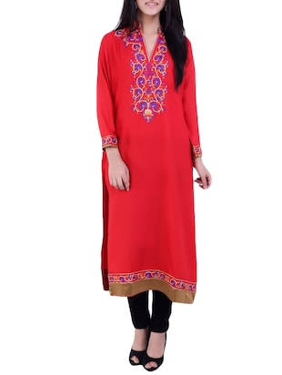 Red rayon long Kurta
