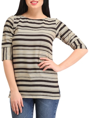 beige and black printed rayon regular top