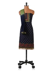 Blue Embroidered Pure Cotton Dress Material - By