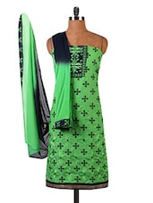 Green Embroidered Printed Pure Cambric Cotton Dress Material - By