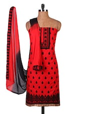 Red Embroidered Pure Cambric Cotton Dress Material - By