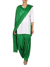 Solid Green Cotton Patiala Salwar And Dupatta Set - By