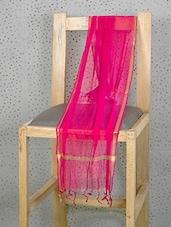 Pink Art Silk Dupatta With Zari Border - Prabha Creations