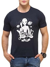 navy blue cotton printed t-shirt -  online shopping for T-Shirts