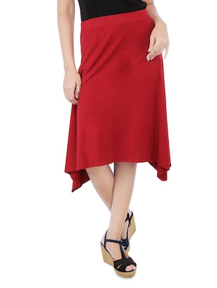 Solid Red Cotton Spandex Flare Skirt