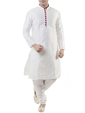 white silk blend kurta pyjama set -  online shopping for ethnic wear sets