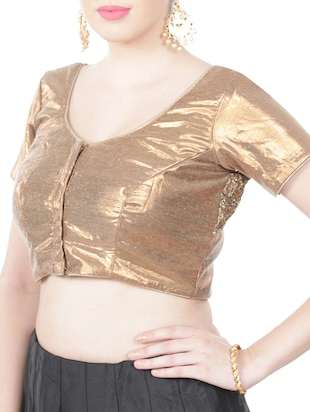 gold georgette embellished stitched blouse