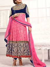 Pink And Royal Blue Embroidered Net Anarkali Suit Set - By
