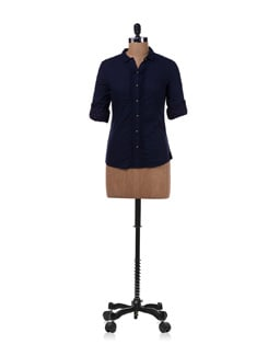 Dark Blue Shirt With Polka Dots - Allen Solly