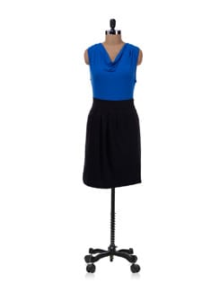 Blue And Black Cowl Neck Dress - Allen Solly